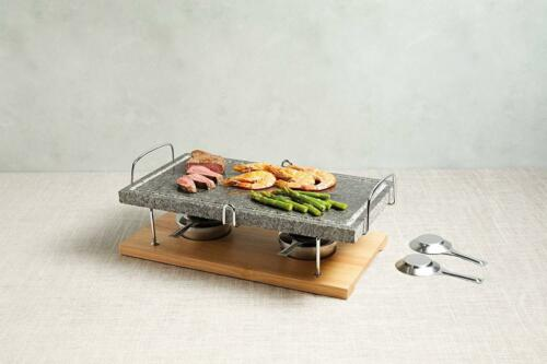 Tabletop Hot Stone Grill Outdoor Griddle MARBLE Cooking SIZZLING Steak Party New