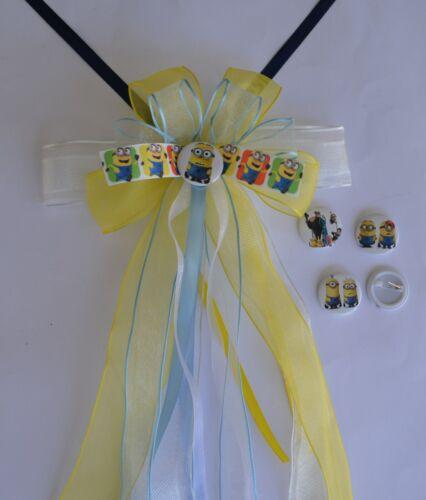 Pin blau Schultüten schleife Minion Farben weiss Button gelb mit Anstecker
