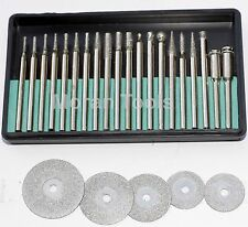 25 Diamond burr grinding cutting set polishing compatible with all makes of tool