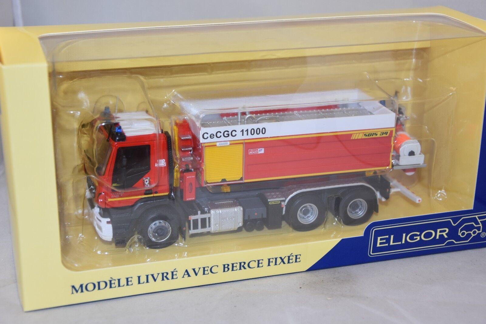 Eligor 115940 - IVECO Trakker 410 VPCE PALFINGER cellule  Jacinto pompiers 1 43  magasin d'offre