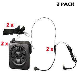 Pyle PAIR of PWMA50B 50 W Portable, Waist-Band Portable Pa System W/ Microphone
