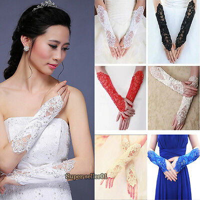 Bride Wedding Party Pearl Lace Satin Bridal Gloves Costume Dress Fingerless NEW