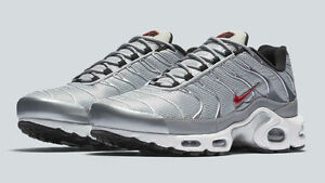 49a0f4a6fe Nike Air Max Plus TN Tuned 1 Metallic Silver Bullet White Red 903827 ...