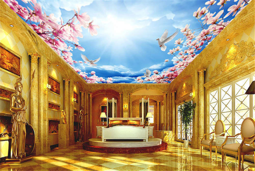 Vital  Gross Peony 3D Ceiling Mural Full Wall Photo Wallpaper Print Home Decor