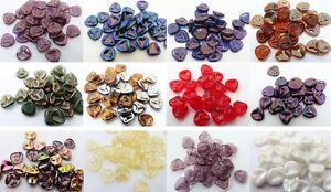 7X8-MM-CZECH-GLASS-ROSE-PETAL-DROP-BEADS-VARIOUS-COLOURS-PACK-OF-30