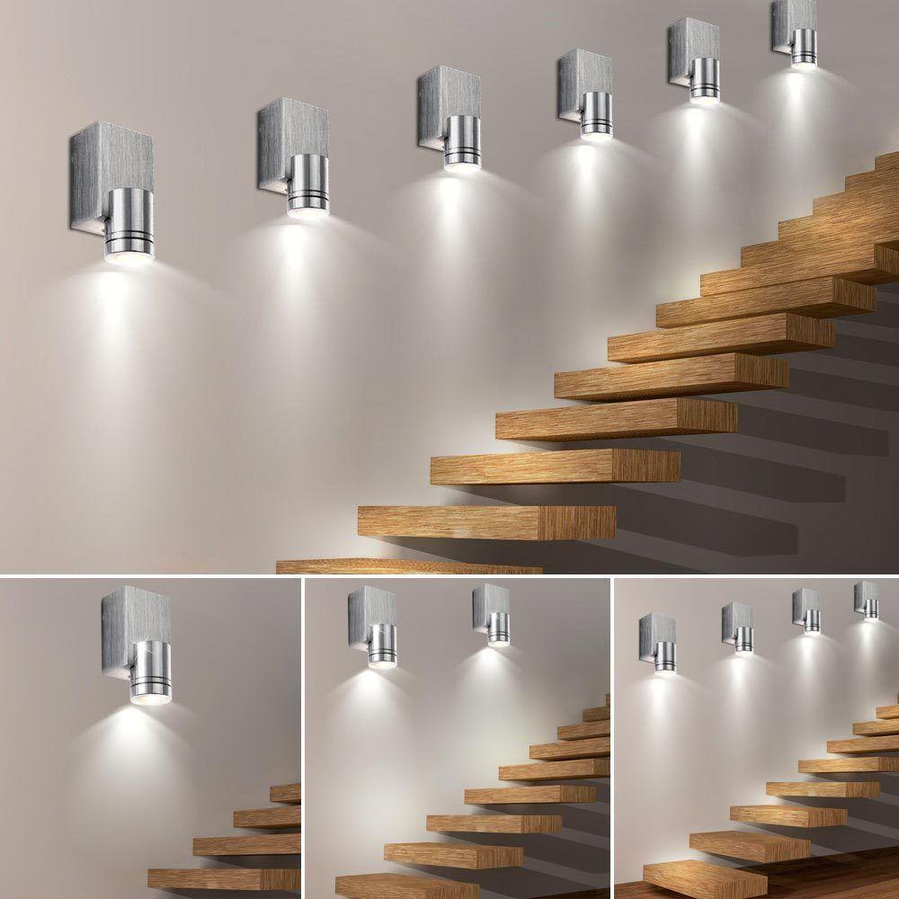 1x- 2x- 4x- 6x- LED Wand Leuchten Wohn Zimmer Treppenhaus ALU Big Light