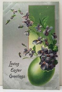 Easter-Greetings-Pansies-Growing-From-Green-Egg-Silver-Finished-Postcard-F9