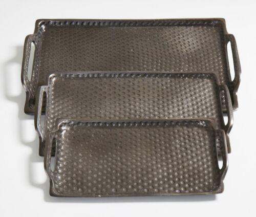 La Casa di Caesar Deko-Tabletts Tablett Rohnickel antik schwarz 35 x 21,5 cm