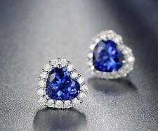 18k White Gold GP Crystal Zircon Heart-shaped Lady Wedding Earrings Studs