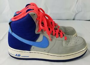 size 40 30c27 95df2 Details about NIKE Air Force 1 Swoosh Gray & Blue Leather High Top (AF1'82)  Size 8 1/2 EUC