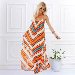 69e5f7bf0818 Image is loading Plus-Summer-Women-Chiffon-Boho-Bohemian-Long-Maxi-