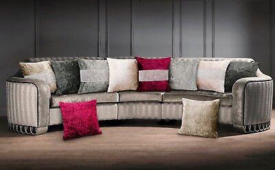 Soft Large Crushed Velvet Diamante Cushion Cover Sparkle Cream Natural Raspberry