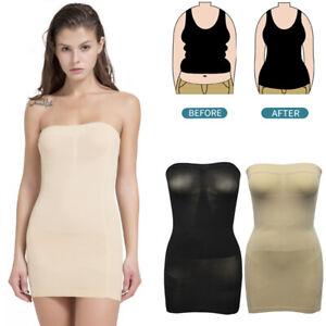Ladies Underbust Seamless Tummy Control Full Slip Dress Bodyshaper Black /& Nude