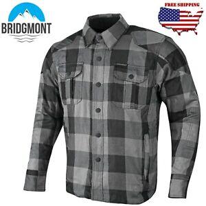 Men Biker Motorcycle Flannel Lumberjack Shirt Made with Dupont™Kevlar® CE Armour