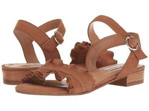STEVE-MADDEN-Womens-039-Brett-039-Cognac-Leather-Ankle-Strap-Sandals-Sz-8-M-231396