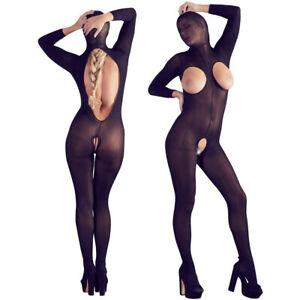 Damen Body Catsuit mit Maske Schritt Busen offen S M L sexy Dessous Reizwäsche