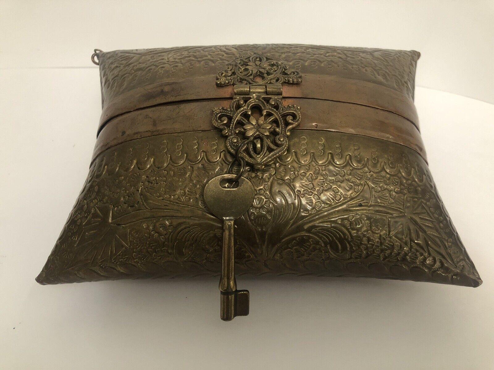 Vtg Pillow Purse Brass 1930s Deep Blue Velvet Lining Fossil Charm Key No Handle
