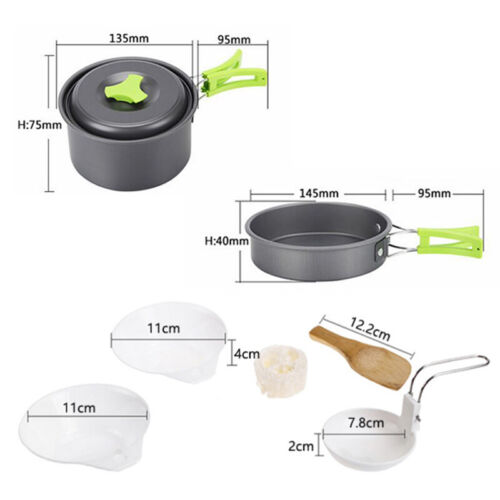 11pc Portable Camping Cookware Mess Kit Backpacking Outdoors Cook Pot Bowls Set