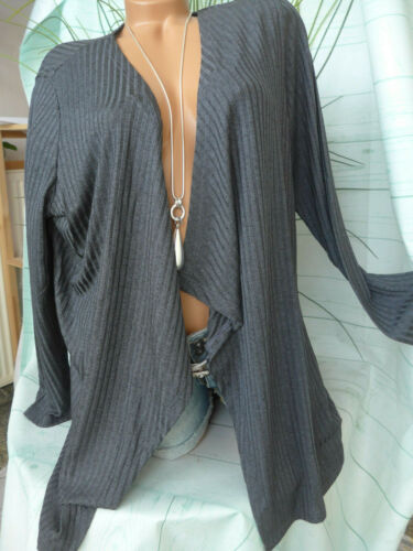 215 Gilet Tricoté Veste Dress Dans Taille 38 à 46 Gris Argile en argile Brillance