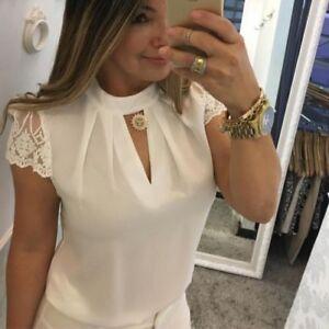 donna-casual-chiffon-manica-corta-giuntura-PIZZO-top-maglia-ufficio-camicia