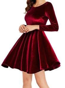 Annigo-Womens-Red-Velvet-Casual-Short-Fit-Flare-Skater-Dress-Long-Sleeve-Sz-S