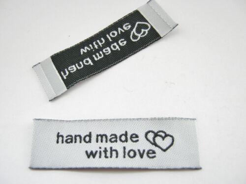 """2/"""" pulgadas 24 /""""hecho a mano con amor/"""" etiquetas de tela 50mm Coser en las etiquetas de ropa etiquetas"""
