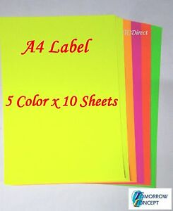 Details about 50 Sheets A4 Mixed Fluoro Color Self Adhesive Sticker Paper  Label Laser Inkjet