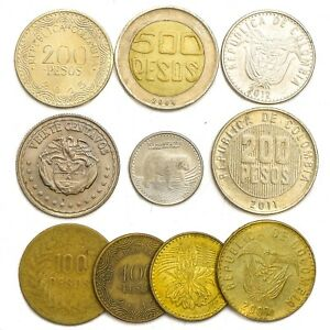10-COINS-FROM-COLOMBIA-OLD-COLLECTIBLE-COINS-SOUTH-AMERICA-COLOMBIAN-PESOS