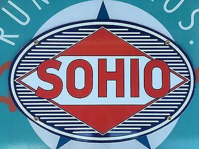 SOHIO STANDARD OIL COMPANY OF OHIO porcelain coated 18 GAUGE steel SIGN