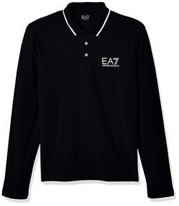 EMPORIA-ARMANI-EA7-Man-s-Black-Long-Sleeve-Cotton-Polo-Shirt-Size-Medium-NWT