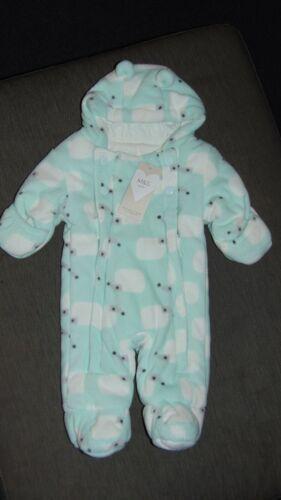 M/&S Cotton Lined Fleece Hooded /'Hedgehog/' Pramsuit NEWBORN 50cm Pale Aqua BNWT