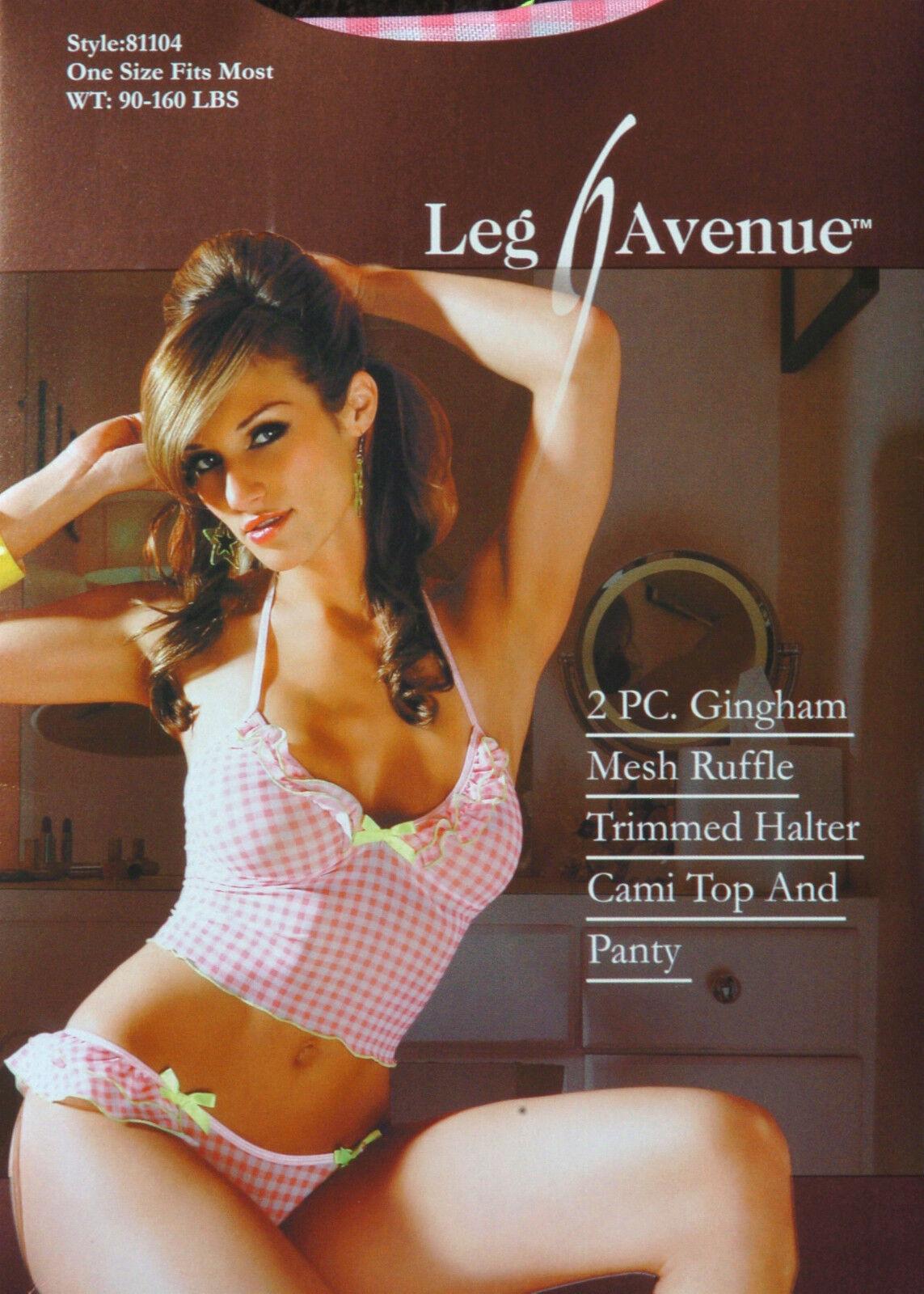 Leg Avenue Fashion 2-PC Gingham Halter Cami & Panty Set One Size