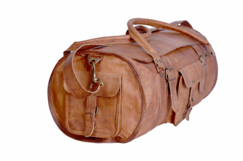 Men/'s genuine Leather gym vintage duffel travel  weekend overnight bags