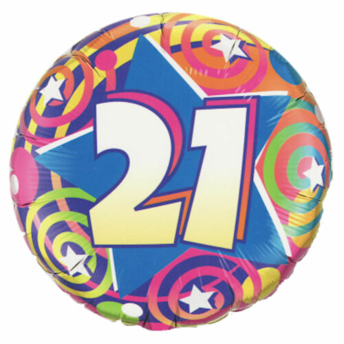 7pc Colorful 21st Stars /& Swirls Happy Birthday Balloon Bouquet Party Decoration