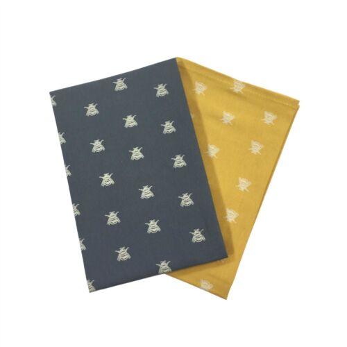 4 X Biene Silhouetten Grau Gelb Weiß 100/% Baumwolle Küche Tee Handtücher