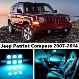 9pcs Led Ice Blue Light Interior Package Kit For Jeep Patriot Compass 2007 2014 Ebay