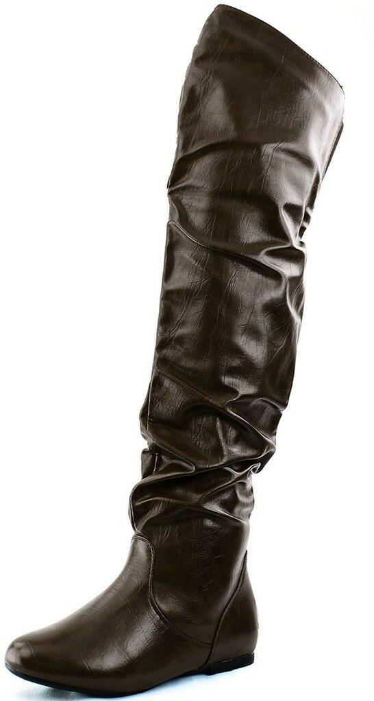 DailyShoes Fashion Hi Over the Knee Thigh High Flat Slouchy BROWN Low Heel Boot