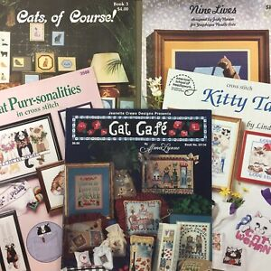 Lot-of-5-Cat-Themed-Cross-Stitch-Pattern-Booklets-whimsical-amp-realistic-vtg-mix