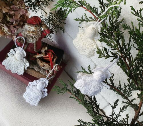 Special Offer Crochet Angels-set of 10qty-white angels-christmas tree ornaments
