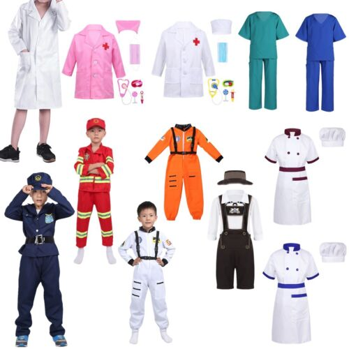 Girls Boys Doctor Policeman Cosplay Costume Party Kids Fancy Dress up Uniform