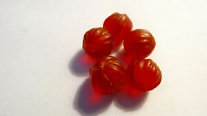 THAILAND-ANCIENT-RED-COLOR-TRANSLUCENT-CARNELIAN-Hand-Carved-BEADS-SET