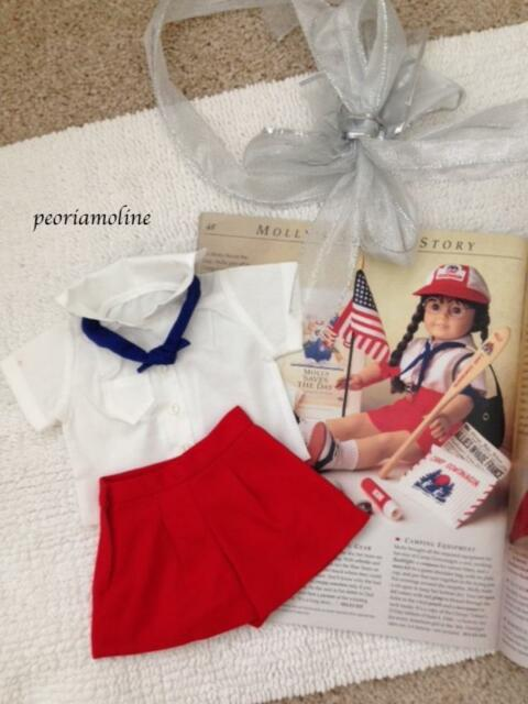 American Girl  MOLLY'S CAMP~CAMPING OUTFIT 3 Piece~Shirt~Red Shorts~Blue Tie~NEW