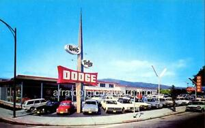 Photo. 1960s. Los Gatos, California. Klepinger's West Valley Dodge