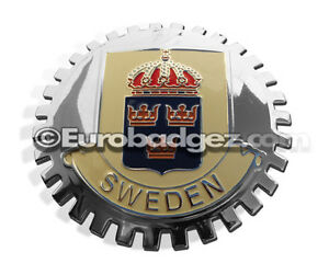 1-NEW-Chrome-Front-Grill-Badge-Coat-of-Arms-Swedish-Flag-SWEDEN-MEDALLION