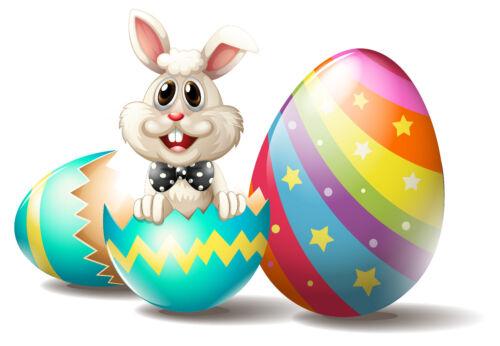 Basteln & Kreativität FO01 Bügelbild Bügeltransfer Aufbügler Ostern Hase Eier alle Stoffe DIN A4 o A5