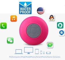 Mini Wireless Bluetooth Speaker Handsfree Mic Suction Shower Car Waterproof Pink