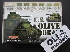 US Olive Drab AFV Acrylic Paint Set 6x20ml - LIFECOLOR CS11