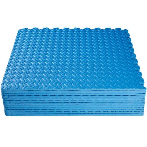 Lot de 12 tapis de protection éléments à emboîter de fitness de gymnastique bleu