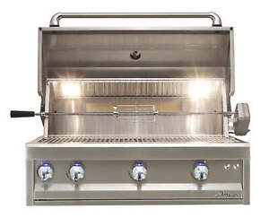 """Alfresco 36"""" Artisan Pro Built-In Gas Grill with Rear Infrared Rotisserie Burner"""