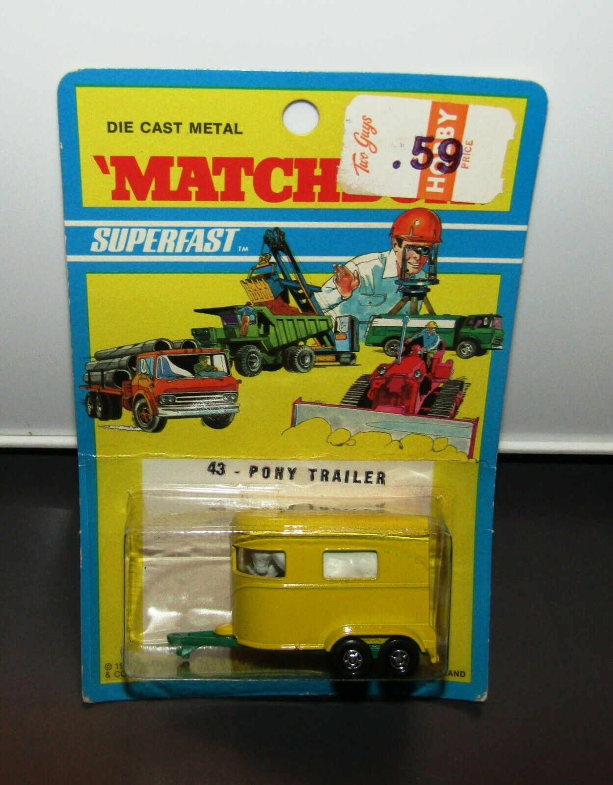 MATCHBOX SUPERFAST nº 43 PONY Trailer Light vert Base étroite WH 1971 Blister